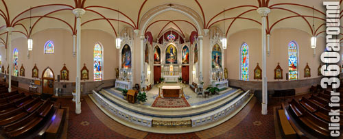 The beautiful interior of Holy Cross-Immaculata Church