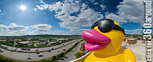Duck's eye view of Interstate 75 in Cincinnati