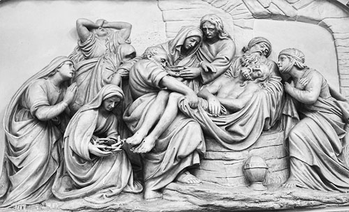Black and white detail of one of the Stations of the Cross