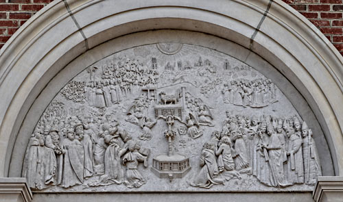 The Tympanum over the main door,hand carved from a 2 ton slab of limestone